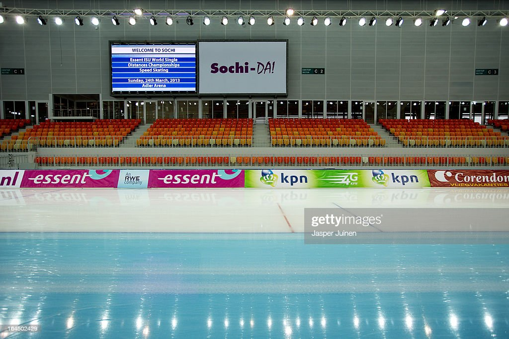 Interior view of the Adler Arena Skating Center on day four of the Essent ISU World Single Distances Speed Skating Championships on March 24, 2013 in Sochi, Russia.