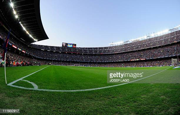 Interior view of the Camp Nou stadium during the Spanish league football match FC Barcelona vs UD Almeria on April 9 2011 at the Camp Nou stadium in...
