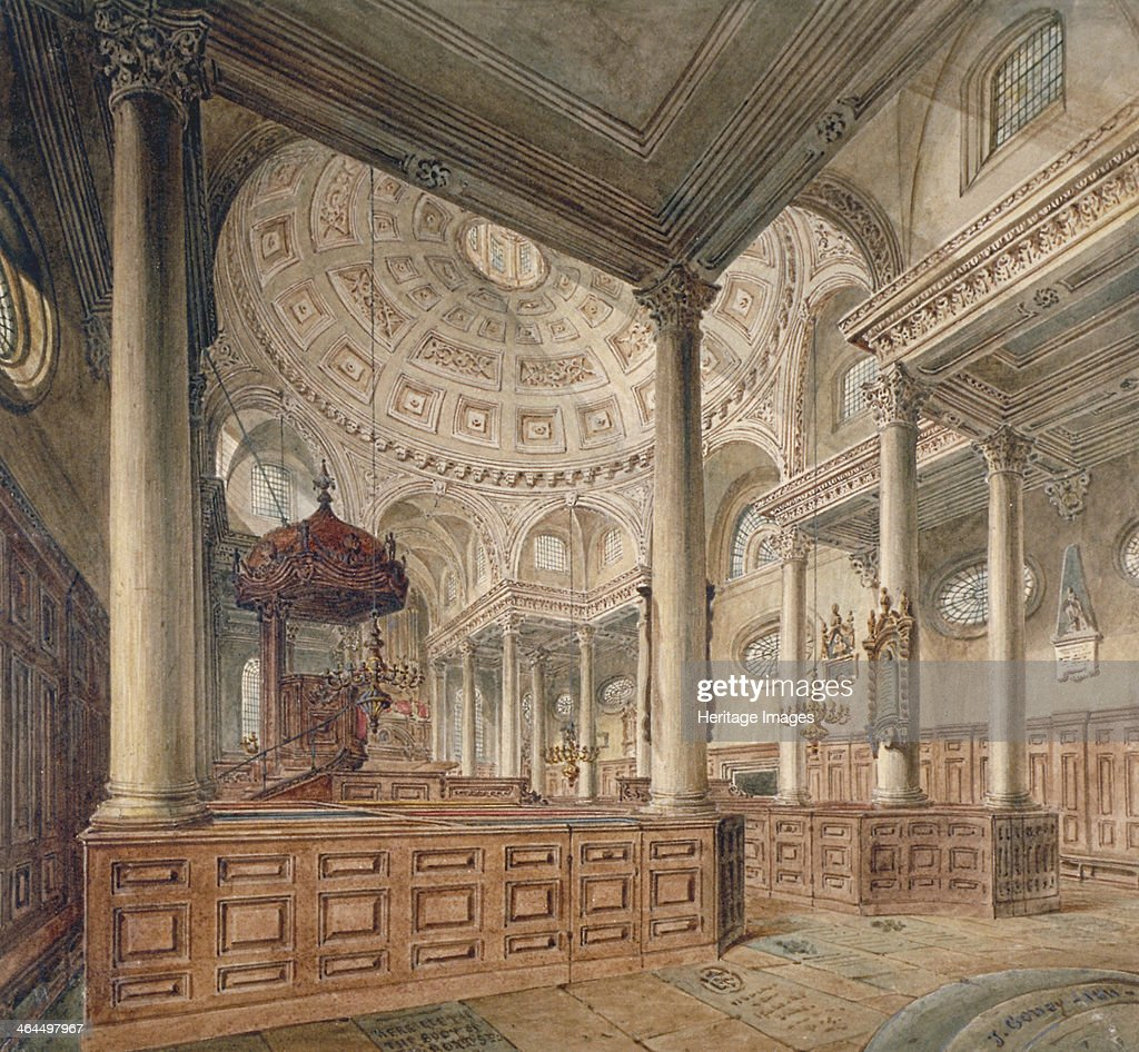 Interior View Of The Church Of St Stephen Walbrook, City Of London, 1811.