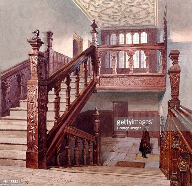 Interior view of the grand staircase in Charterhouse London 1885