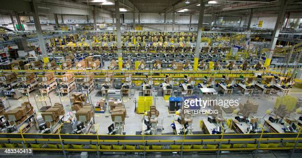 Interior view of the hall of a logistics center of the online shopping company Amazon taken on March 26 2014 in Leipzig eastern Germany OUT