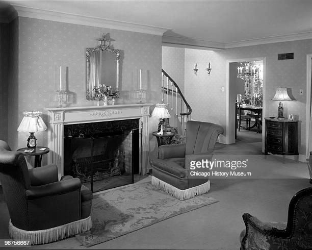 Interior view of the Howard White Jr residence at 1936 Beechwood in Wilmette IL showing the living and dining rooms The living room contains a large...