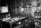 Interior view of the hut of Captain Robert Falcon Scott at Cape Evans Ross Island Antarctica April 1961 US Navy photograph