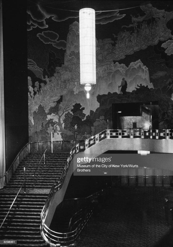 Interior view of the lobby of Radio City Music Hall, designed by Donald Desky, New York City, circa 1935.