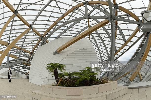 Interior view of the Louis Vuitton Foundation designed by CanadianAmerican architect Frank Gehry in the Bois de Boulogne in Paris on October 17 2014...