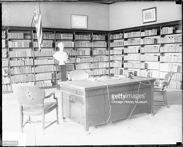 Interior view of the office of Calvin Coolidge President of the United States from 19231929 located in a building in Superior Wisconsin 1928 A desk a...