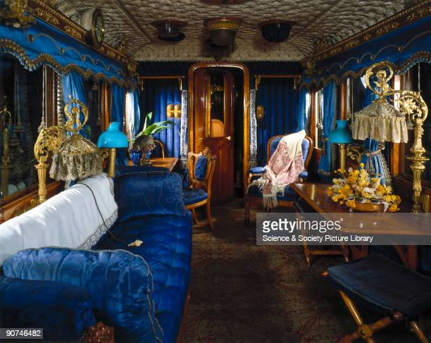 Interior view of the royal carriage built in 1869 for Queen Victoria by the London and North Western Railway at their Wolverton Works in...