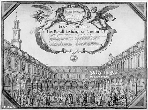 Interior view of the Royal Exchange filled with figures City of London 1644