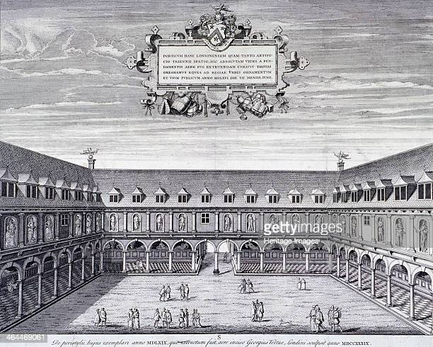 Interior view of the Royal Exchange London c1660
