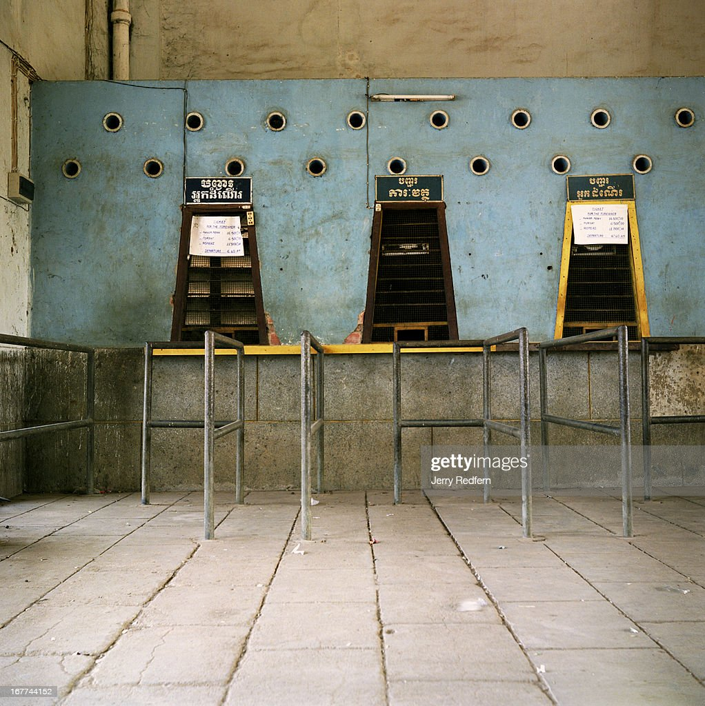 Interior view of the ticket windows of the train station in Battambang The system has recently reduced train service between Phnom Penh and...