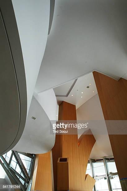 Interior view of the Walt Disney Concert Hall lobby where Douglas fir panel columns resemble tree branches The Walt Disney Concert Hall designed by...