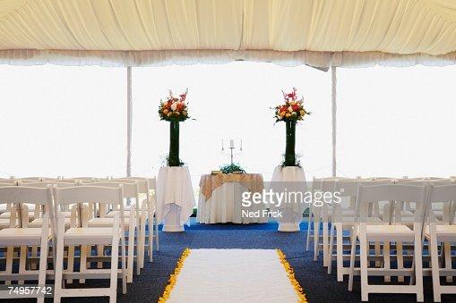 Interior view of wedding tent