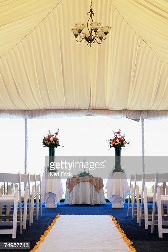 Interior view of wedding tent : Stock Photo