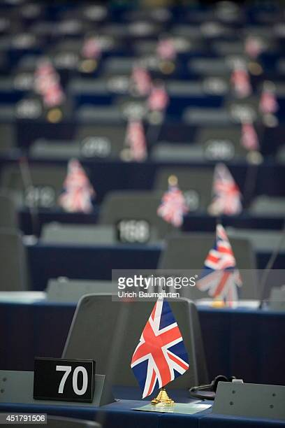 Interior view plenary European Parliament in Strasbourg British flags on the seats of members of the Parliament on July 02 2014 in Strasbourg France