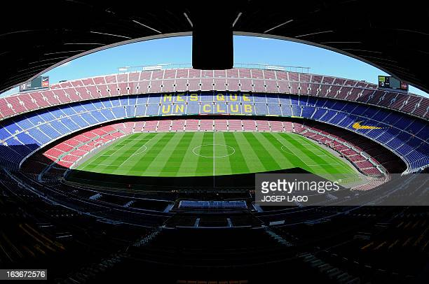 Interior view taken on March 14 2013 of the Camp Nou stadium in Barcelona AFP PHOTO / JOSEP LAGO
