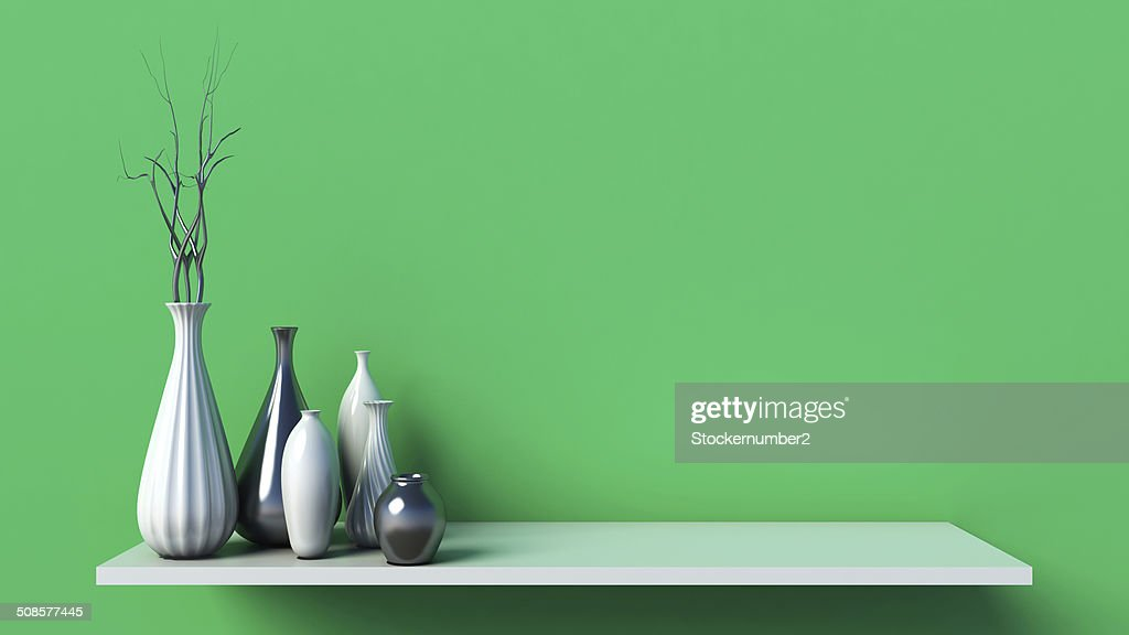 Interior wall and ceramic on shelf decorated, 3d rendering : Stock Photo