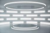 Interior white futuristic background, sci-fi interior concept. Empty interior with neon lights. 3D illustration