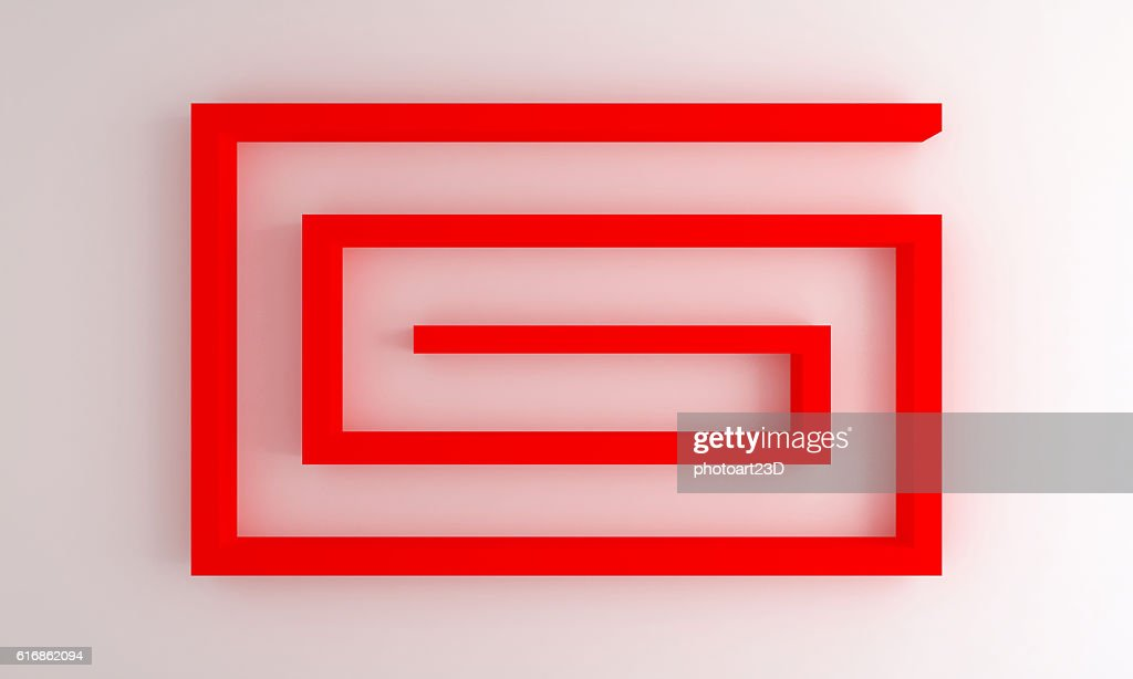 interior white wall with red shelves 3d : Stock Photo