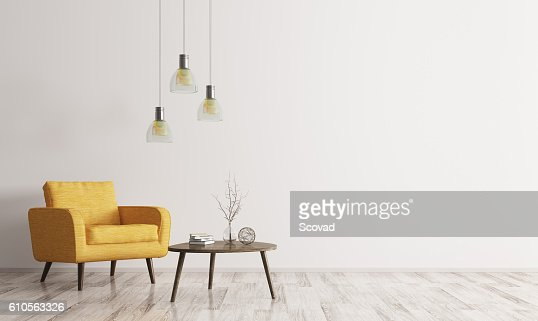 Interior with armchair and coffee table 3d rendering : Foto de stock