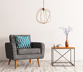 Interior of living room with coffee table,gray armchair and lamp 3d rendering