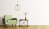 Interior of living room with coffee table, green armchair and lamp 3d rendering