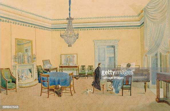 Interior with figures The Music Room 18301839 Found in the collection of State History Museum Moscow Artist Anonymous