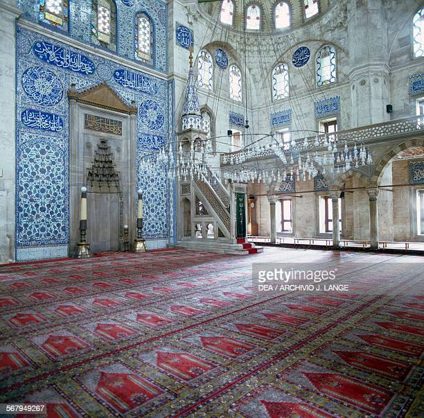 Interior with minbar and mihrab of the Rustem Pasha Mosque 15611563 Istanbul Turkey