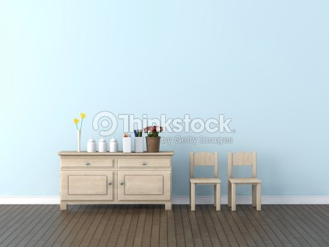 Interior With Pale Blue Wallinimal Wood Furnishings Stock Photo