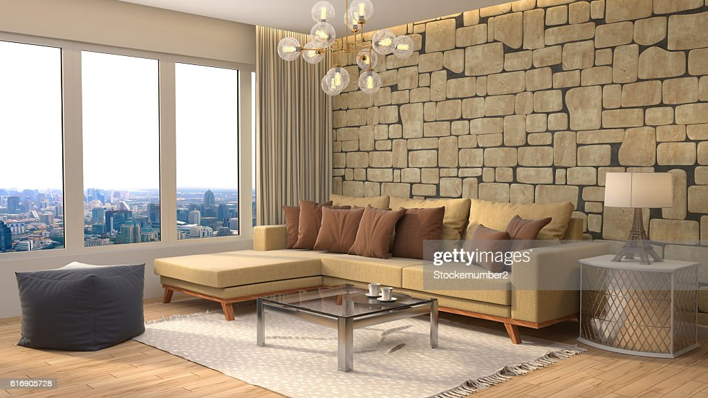interior with sofa. 3d illustration : Stock Photo