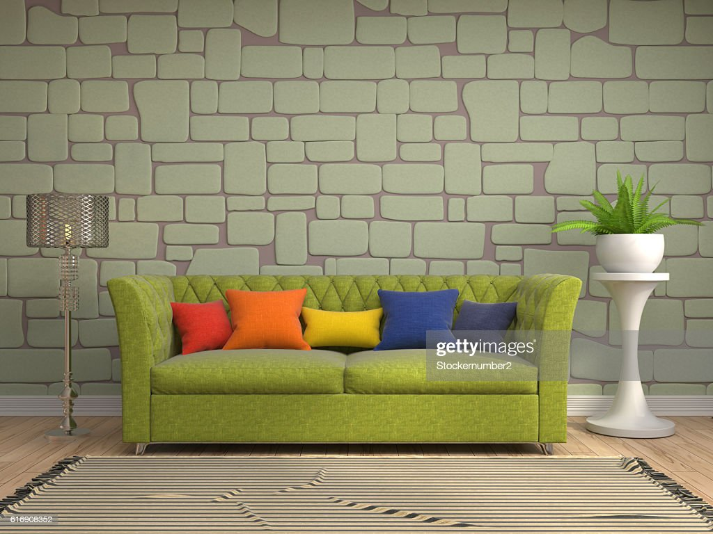 interior with sofa. 3d illustration : Stock Photo