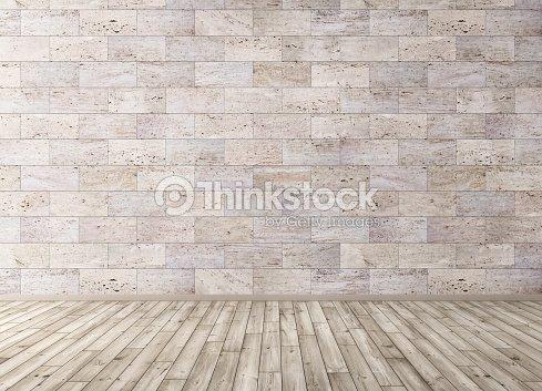 Interno con piastrelle in pietra parete e pavimento in legno render