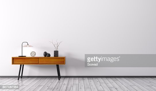 Interior with wooden side table 3d render : Stock Photo