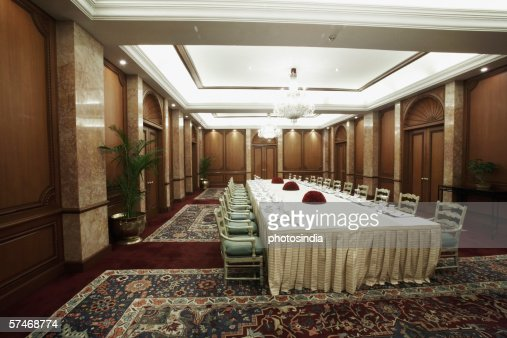 Interiors of a dining hall stock photo getty images for Dining hall interior
