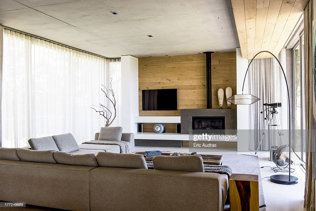 Interiors of a modern living room : Stock Photo