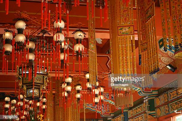 Interiors of a temple, Po Lin Monastery, Ngong Ping, Lantau, Hong Kong, China