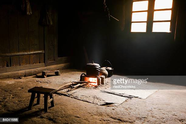 Interiors of a traditional kitchen, Jinkeng Terraced Field, Guangxi Province, China