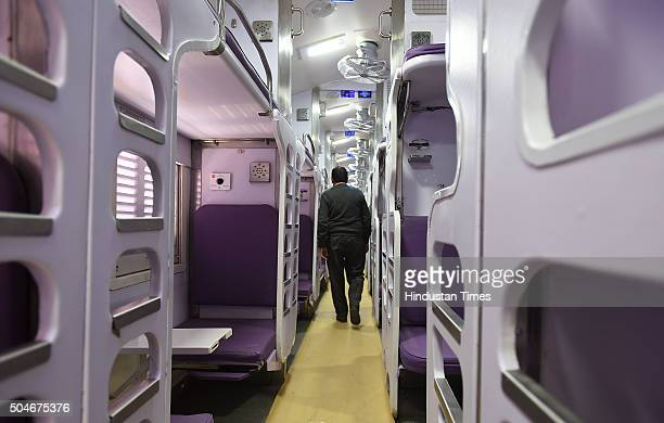 Interiors of model rake of luxury 'Make in India' railway coaches at Safdarjung Railway Station on January 12 2016 in New Delhi India These...