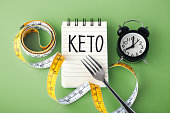 Keto word with clock fork and measuring tape around, intermittent fasting on keto concept