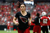Intern linebacker coach Jen Welter of the Arizona Cardinals on the field during the team training camp at University of Phoenix Stadium on August 1...