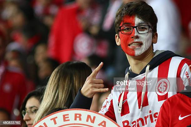 Internacional fan before the match between Internacional v Tigres as part of Copa Bridgestone Libertadores 2015 SemiFinals at Estadio BeiraRio on...