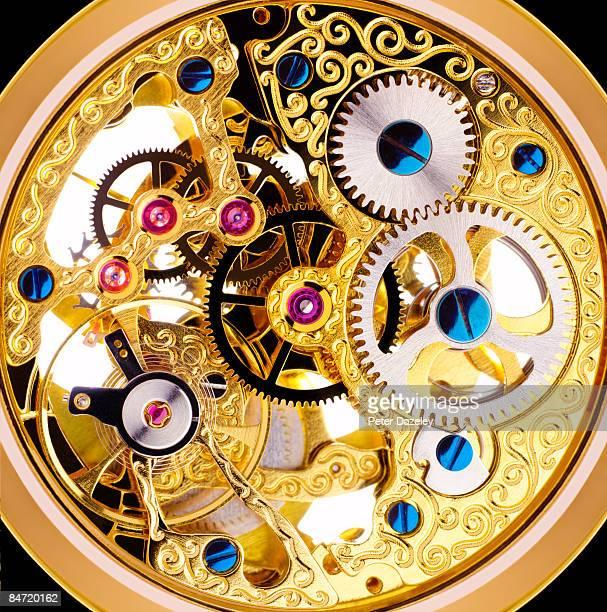Internal mechanism of Edwardian pocket watch