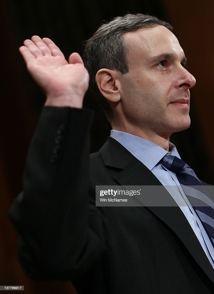 Internal Revenue Service Commissioner Douglas Shulman is sworn in prior to testifying before the Senate Homeland Security and Governmental Affairs...