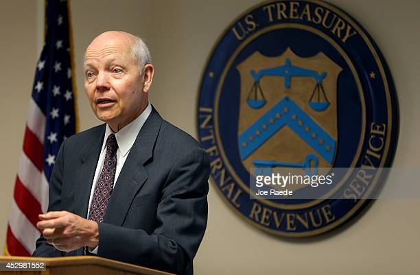 Internal Revenue Service Commissioner John Koskinen speaks to the media during a visit to the Miami office at the Claude Pepper Federal Building on...