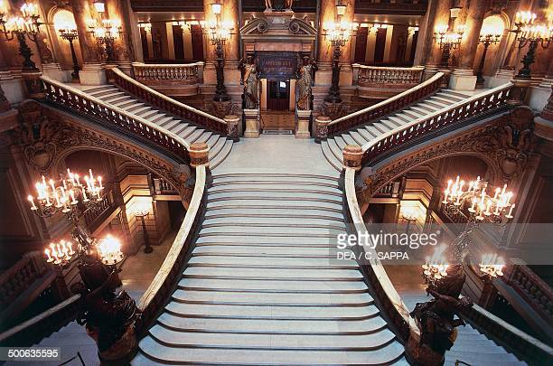 Internal staircase of Palais Garnier 18601875 designed by Charles Garnier one of the venues of the Opera National de Paris Paris Paris IledeFrance...