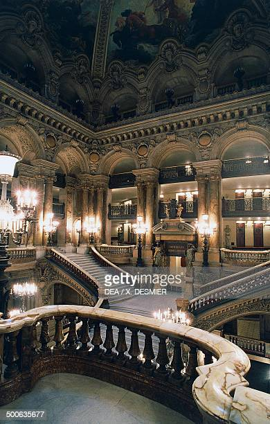 Internal staircase of Palais Garnier 18601875 designed by Charles Garnier one of the venues for the Opera National de Paris Paris Paris IledeFrance...