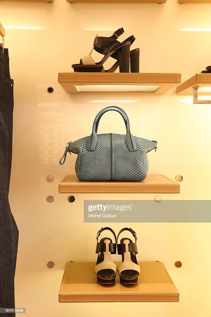 Internal view of the 'D.D. Bag Collection' Launch Cocktail at Tods Shop on April 25, 2013 in Paris, France.