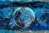 Digital globe on forex background. International business concept. 3D Rendering