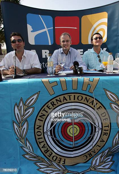 International Archery Federation event director and olympic champion Juan Carlos Holgado communication and marketing director Didier Mieville and...