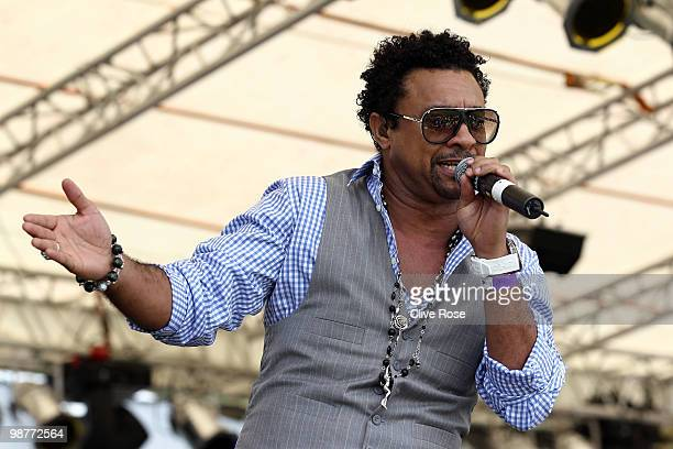 International artisit Shaggy performs during The ICC T20 World Cup Opening Ceremony at the Guyana National Stadium Cricket Ground on April 30 2010 in...