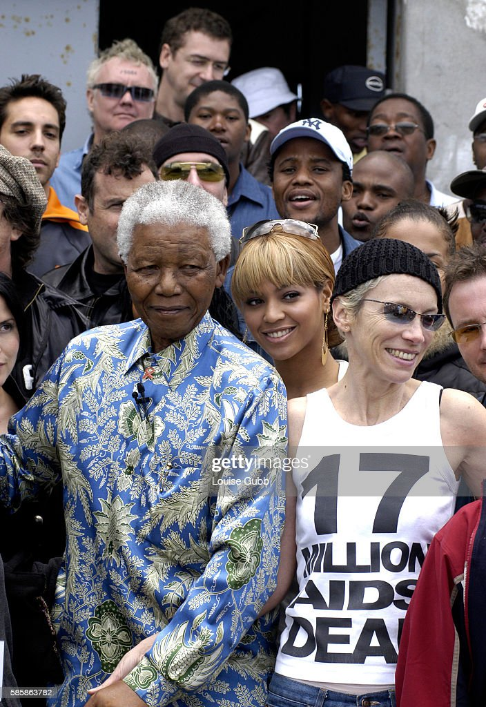 International artists gather at Robben island where Nelson Mandela was incarcerated for 27 years to support Mandela's fight against Aids with a fund...